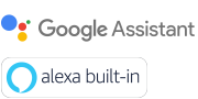 Логотипи Google Assistant built-in і Alexa built-in