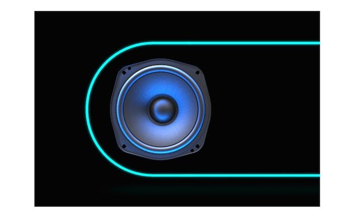 Изображение изделия EXTRA BASS с подсветкой от компании SONY.